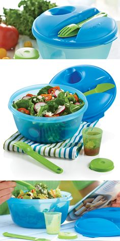 The Salad on the Go container is the perfect way to take freshness along wherever your day leads. FEATURES: The seal houses an innovative snap-together fork and knife, and a small, virtually airtight and liquid-tight container nestles comfortably to house dressings that won't weigh your salad down.