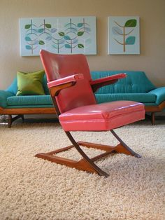 """c. mid 1950s Cool Pink """"Lazy D"""" Bounce/Rocking Chair 