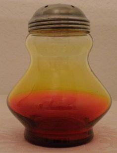 Reverse Amberina Glass Antique Muffineer Sugar Shaker   eBay