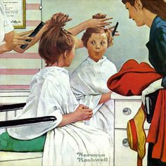 Charlton Home 'First Trip to the Beauty Shop' by Norman Rockwell Painting Print on Wrapped Canvas Size:
