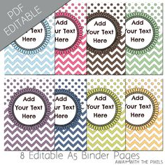 A5 Editable Filofax Planner Printable Insert Divider to Print, 8 Colors, Chevron, Polkadots, Instant Download PDF/JPG, Organizers Binders by AwayWithThePixels on Etsy