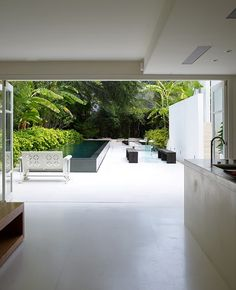 Walk out patio, lap pool, so stylish.
