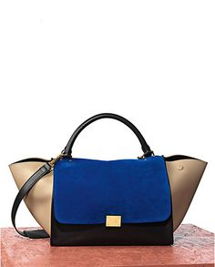 346bc22b6e74 Céline Trapeze in Multicolor Calfskin Royal Blue Celine Trapeze Bag