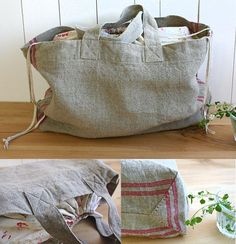 Free sewing pattern for a shopping bag with a drawstring closure.