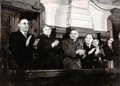 Gheorghe Gheorghiu-Dej, Ana Pauker, Vasile Luca, Georgescu, Valter Roman, Basil Mârza in the ministerial bench, on the occasion of the 10th session of the Grand National Assembly in which the state budget was passed for 1951 and was signed a call for a Covenant of Peace