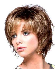 Spiffy Heat Resistant Fiber Shaggy Short Blonde Mixed Brown Side Bang Wavy Capless Wig For Women_Spiffy Heat Resistant Fiber Shaggy Short Blonde Mixed Brown Side Bang Wavy Capless Wig For Women Best Lace Front Wigs, Synthetic Lace Front Wigs, Synthetic Wigs, Short Shag Hairstyles, Hairstyles With Bangs, Bob Hairstyle, Medium Hair Styles, Curly Hair Styles, Natural Wigs