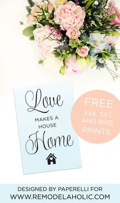 The difference between a house and a home is the feeling inside! Use this free printable to remind you: love makes a house a home. An easy print for a gallery wall, or frame it as a simple housewarming gift.