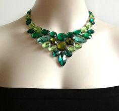 green bib necklace - emerald green, peridot green and olive green color bib necklace, bridesmaids, prom, wedding necklace