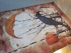 Halloween fabric handmade sewing art journal by iwathd09 on Etsy