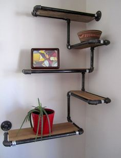 Custom Built Pipe and Reclaimed Wood Shelving