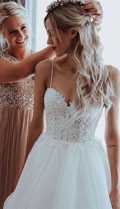 ba7e1bea6efa Shining Tulle Spaghetti Straps Beaded Appliqued A-line Wedding Dresses WD193