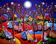 Maisons arbres colorés amusant lune lunatique Folk Art peinture originale