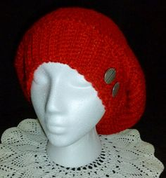 Slouch Beanie Slouchy Beret Slouch Hat Red Crochet Hat by berly731