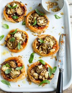 Can we tempt you with one of our rather delicious caramelised onion, aubergine and feta tarts?