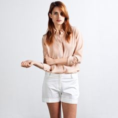 Everlane - Silk Blouse - Rounded Collar  in nude