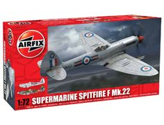 The Airfix Supermarine Spitfire F.22 Model Kit in 1/72 scale from the plastic aircraft model range accurately recreates the real life British fighter aircraft flown during World War II.    This plastic aircraft kit requires paint and glue to complete.