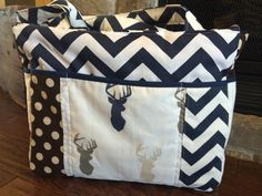Navy Chevron Deer Heads XLarge Diaper Bag by SamanthaTBoutique