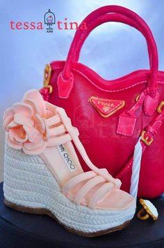 Prada bag and Jimmy Choo shoe cake