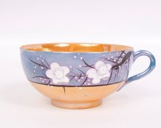Vintage Lusterware Japanese Blue and Gold Teacup Iridescent Oriental Tea Cup Hand Painted White Raised Flowers