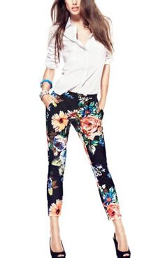 Floral Print Black Cropped Cotton Trousers