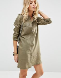 Image 1 ofASOS Linen Military Shirt Dress