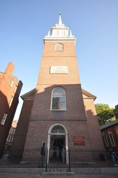 """The Old North Church, Boston National Historical Park, Boston, Massachusetts  - Officially known as Christ Church in the City of Boston, it was built in 1723, and was inspired by the works of Christopher Wren, the British architect. It is the location from which the famous """"One if by land, and two if by sea"""" signal is said to have been sent."""