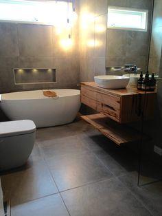 Vanity & shelf from wormy chestnut timber with push to open drawers Bathroom Inspo, Bathroom Layout, Bathroom Inspiration, Bathroom Ideas, Hardwood Furniture, Bathroom Furniture, Wormy Chestnut, Powder Room Vanity, Timber Vanity