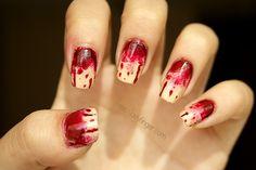 Bloody zombie Halloween Nail Art Inspiration