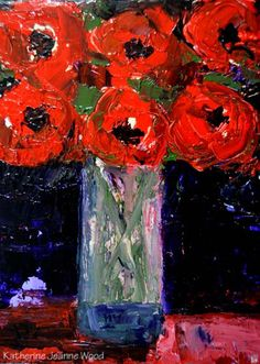 Still life impasto acrylic painting of red flowers in a water glass. Bluish purple background. Modern wall hanging or wall decor. Lots of