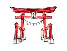 The torii gate at the entrance to a shrine's grounds is a sight known to everyone who has visited Japan. Whether made of wood or concrete, unvarnished or painted bright red, the torii is a sign that the worshipper is leaving the profane world behind. Japanese Door, Japanese Shrine, Japanese Art, Japan Icon, Pencil Drawings For Beginners, The Garden Of Words, Torii Gate, Building Drawing, Asian Garden
