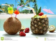 Photo about Closeup summer cocktails pineapple and coconut with fruit kiwi and strawberry on the tropical beach. Image of pineapple, summer, food - 30288117 Pink Drink Recipes, Pink Drinks, Cocktail Images, Cocktail Drinks, Pineapple Coconut, Pineapple Drinks, Pineapple Images, Caribbean Recipes, Caramel Apples