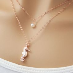 Rose Gold Layered Necklace Set Seahorse Charm Necklace with