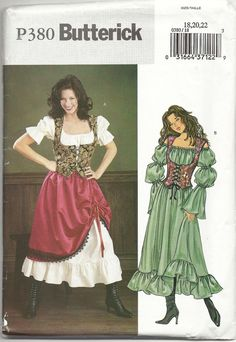 Butterick 3906/ P380 Misses Gypsy  Barmaid Wench by themonkeyface, $6.00