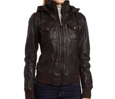 handmade women elegant Brown Hooded Leather Jacket, women Brown Leather Jacket, women leather jacket. $179.99, via Etsy.