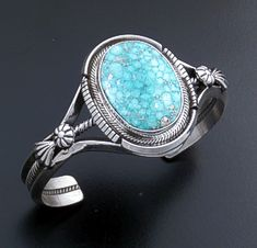 Roie Jaque (Navajo) - Oval Baby Aqua Turquoise & Sterling Silver Split Wire Cuff Bracelet #44334 $825.00 at Castle Gap Jewelry