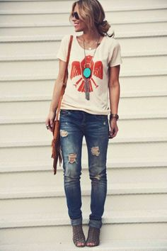 Casual graphic tee outfit - distressed jeans. #Sevenly tee and a cute chunky necklace!