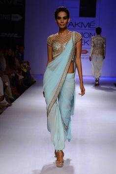 "powder blue ""Pant #Saree"" by @sonaakshiraaj http://SonaakshiRaaj.in/ ~ http://www.perniaspopupshop.com/designers-1/sonaakshi-raaj"