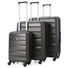 7f7108d06 Aerolite ABS Juego de equipaje maleta rígida ligera con 4 ruedas, Gris  Oscuro
