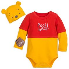 Smiles will stretch a hundred acres wide when you dress your baby in this adorable Winnie the Pooh Costume Bodysuit. The set features a hat with ears and embroidered Pooh face. Baby Outfits, Kids Outfits, Winnie The Pooh Nursery, Disney Winnie The Pooh, Disney Baby Clothes, Cute Baby Clothes, Disfraz Winnie Pooh, Pooh Bebe, Winnie The Pooh