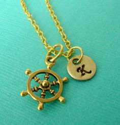 Gold Ships Wheel Charm Necklace with a by lucindascharms on Etsy, $16.00