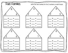 12 total worksheets cover multiplication and division fact families, from x2 to x12 as well as 2 blank versions.