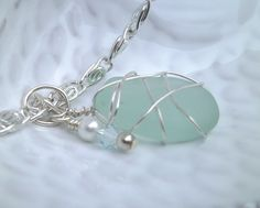 wire wrapped beach glass necklace beach by SusanSeaGlassDesigns, $19.00