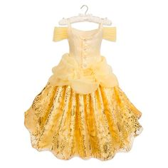 Your little princess will share a tale as old as time in our shimmering deluxe costume inspired by Belle's golden ballgown in Beauty and the Beast. Disney Princess Costumes, Disney Princess Dresses, Corsage, Designer Collection, Dress Collection, Disney Store, Dog Pajamas, Pretty Designs, Slip Skirts