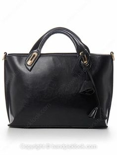 Black Flower Embellished PU Leather Handbag -$26.39