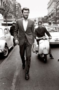 A 1960s Clint Eastwood strutting around Rome.