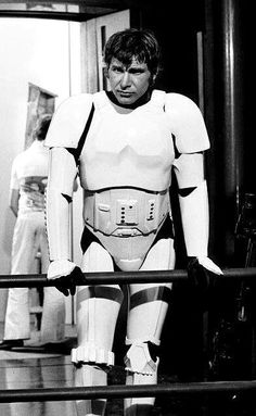 Harrison Ford, dressed as a storm trooper,