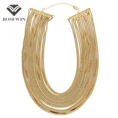Women Statment Jewelry  Multilayers Chain Wide Pendants Bib Chokers Necklaces Bijoux Femininas Maxi Collares CE2353