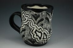 Rebecca A. Grant Ceramics: Sgraffito Abstract Flower Mug