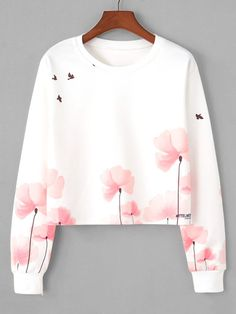 Floral Print Sweatshirt is part of Floral print sweater - TypePullovers Sleeve LengthLong Sleeve NecklineRound Neck ColorWhite Pattern TypeFloral Polyester, Cotton FabricFabric has some stretch SeasonSpring StyleCasual Fit TypeRegular Fit Crop Top Outfits, Cute Casual Outfits, Stylish Outfits, Teen Fashion Outfits, Cute Fashion, Fashion Black, Fashion Styles, Fashion Fashion, Retro Fashion