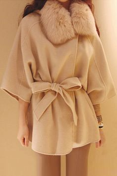ROMWE | ROMWE Belted Hooded Batwing Cropped Sleeves Apricot Coat, The Latest Street Fashion
